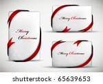 christmas gift card with red... | Shutterstock .eps vector #65639653