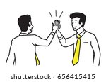 businessman giving high five to ... | Shutterstock .eps vector #656415415