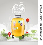 world map with the bag and logo.... | Shutterstock .eps vector #656419435