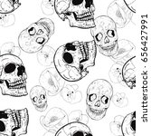 pattern with poppies and skulls | Shutterstock .eps vector #656427991