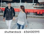 couple in the city love... | Shutterstock . vector #656430595