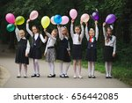 young girls in uniform outdoors | Shutterstock . vector #656442085