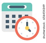 deadline  colored vector icon | Shutterstock .eps vector #656454349