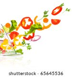 fresh vegetable salad isolated... | Shutterstock . vector #65645536