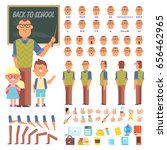 male teacher with pupils... | Shutterstock .eps vector #656462965