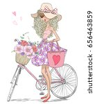 Stock vector hand drawn beautiful cute girl stands near bicycle with a basket full of flowers vector 656463859