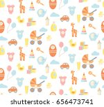 funny seamless pattern with... | Shutterstock .eps vector #656473741