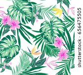 vector seamless tropical... | Shutterstock .eps vector #656475505
