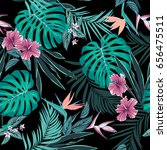 vector seamless tropical... | Shutterstock .eps vector #656475511