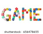 Small photo of Word GAME formed with dice isolated on white background