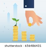 hand holding coin and plant... | Shutterstock .eps vector #656486431