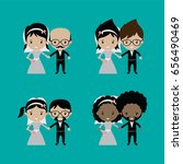 adorable groom and bride lovely ... | Shutterstock .eps vector #656490469