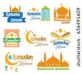 set of icons for islamic month... | Shutterstock .eps vector #656491609