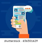 mobile phone chat message... | Shutterstock .eps vector #656501629