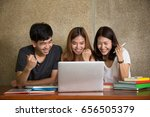 three asia teenage students...   Shutterstock . vector #656505379