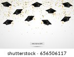 university graduation hats with ... | Shutterstock .eps vector #656506117