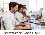hispanic man with headset on... | Shutterstock . vector #656511511