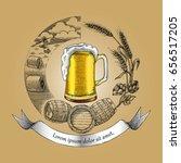 beer craft concept logo  hand... | Shutterstock .eps vector #656517205