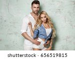 beautiful caucasian couple... | Shutterstock . vector #656519815