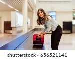 young woman passenger in 20s... | Shutterstock . vector #656521141