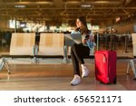 airport young female passenger... | Shutterstock . vector #656521171