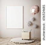 mock up poster in interior... | Shutterstock . vector #656524681