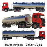 large red truck tanker with a... | Shutterstock . vector #656547151