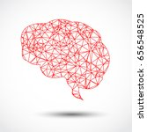 abstract red brain mesh on... | Shutterstock .eps vector #656548525