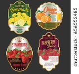 golden labels for organic fruit ... | Shutterstock .eps vector #656552485