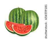 watermelon isolated on white... | Shutterstock .eps vector #656559181