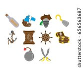 pirates icon set flat color | Shutterstock .eps vector #656563687