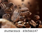 brown background of hot coffee...   Shutterstock . vector #656566147