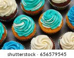 cupcakes with turquoise and... | Shutterstock . vector #656579545