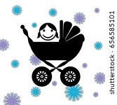 baby carriage silhouette. happy ... | Shutterstock .eps vector #656585101
