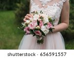 lush wedding bouquet of white... | Shutterstock . vector #656591557