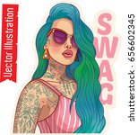 young beautiful woman in tattoo.... | Shutterstock .eps vector #656602345