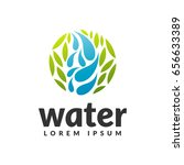 water with leaf icon. eco water ... | Shutterstock .eps vector #656633389