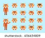 set of fox in suit emoticons.... | Shutterstock .eps vector #656654809