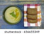 zucchini cream soup and whole... | Shutterstock . vector #656655349