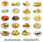 assorted vietnamese food plates ... | Shutterstock . vector #656656351