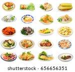 assorted vietnamese food plates ... | Shutterstock . vector #656656351