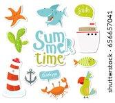 big set of marine stickers.... | Shutterstock .eps vector #656657041