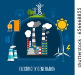 electricity generation... | Shutterstock .eps vector #656668855