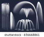 Set of realistic fountains with water jets in various geometric combination on transparent background isolated vector illustration