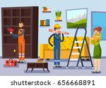 home renovation remodeling flat ... | Shutterstock .eps vector #656668891