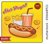 hot dogs comic style poster... | Shutterstock .eps vector #656668921