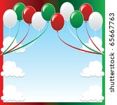 Raster version Illustration of 10 balloons with red and green background and a place for text or imagery. - stock photo