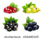 set of isolated berry clusters... | Shutterstock .eps vector #656680105