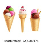 set of realistic colorful ice... | Shutterstock .eps vector #656680171
