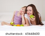 young mother and her five year... | Shutterstock . vector #65668600